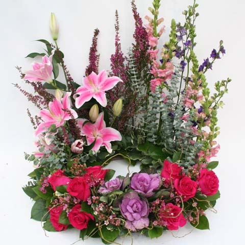 Pink and Purple Urn Flower Arrangement