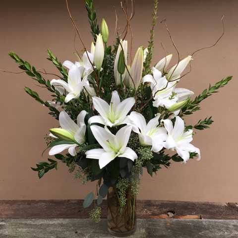 Crystal Blanca Lilies Flower Bouquet