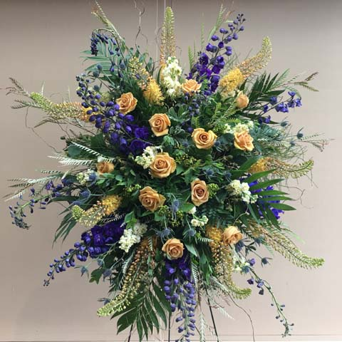 Blue and Gold Easel Flower Spray