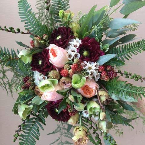 Raspberry Bridal Bouquet
