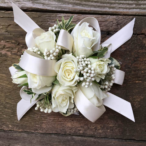 Corsages flowers portland real local flower shop portland oregon white rose wrist corsage mightylinksfo