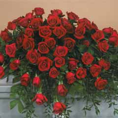 Red Rose Casket Flower Spray