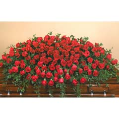 Premium Red Rose Casket Flower Spray
