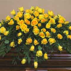 Yellow Rose Casket Flower Spray