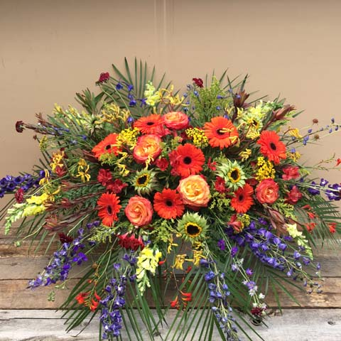 Summer Colors Casket Flower Spray