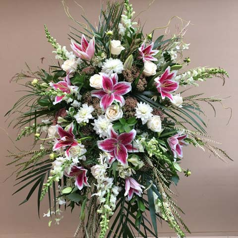 Pink and White Standing Flower Spray