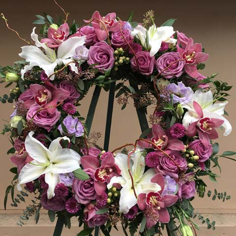 Lavender and Pink Funeral Flower Wreath