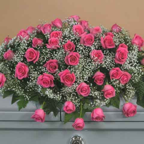 PINK ROSE CASKET SPRAY - Click Image to Close
