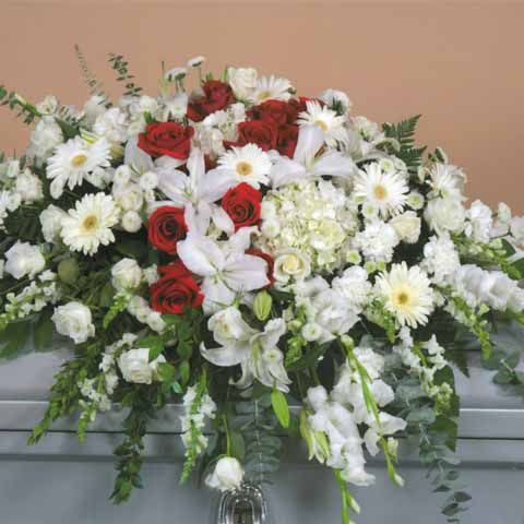 Red and White Casket Flower Spray - Click Image to Close