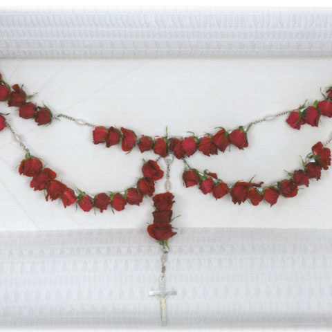 RED ROSE ROSARY for the LID - Click Image to Close