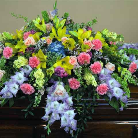 Colorful Mix Casket Flower Spray - Click Image to Close