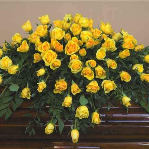 Yellow Rose Casket Flower Spray - Click Image to Close