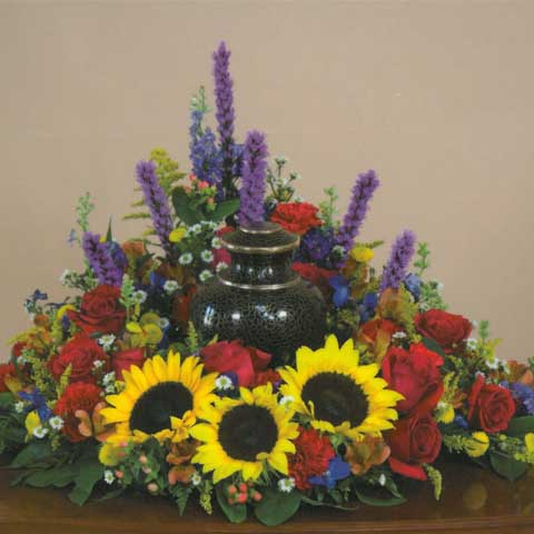 SUNFLOWER URN CENTERPIECE - Click Image to Close